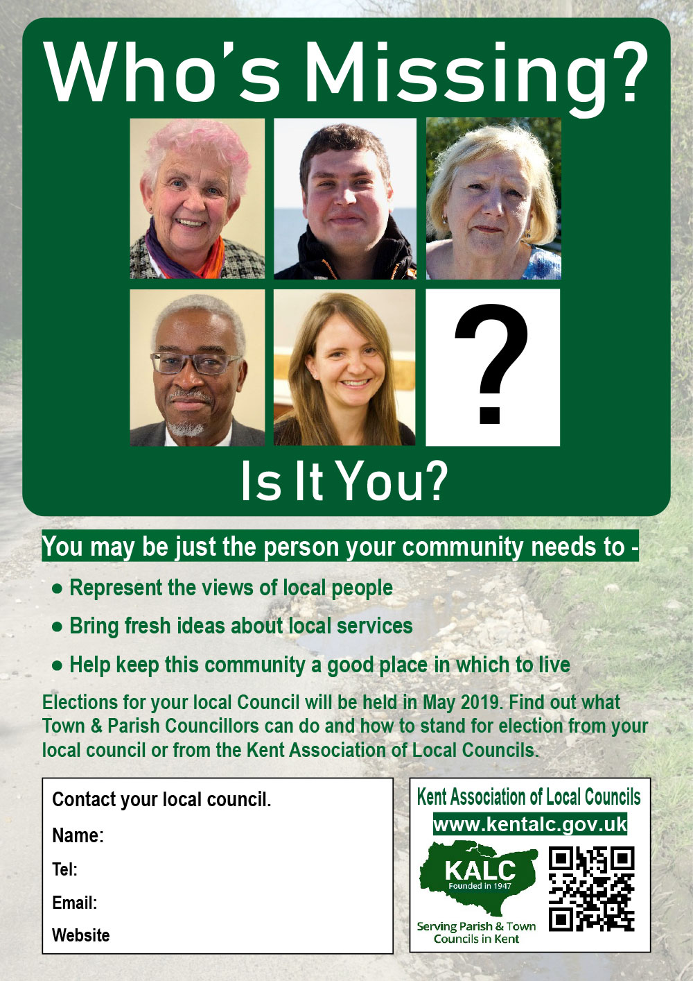 promotional leaflet produced by KALC inviting people to step forward as a councillor