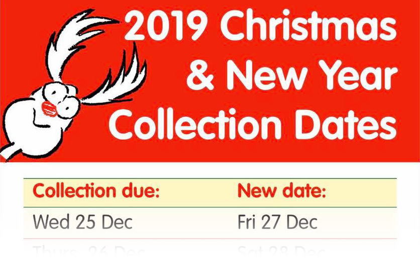 Christmas and New Year 2019 bin collection dates - text below