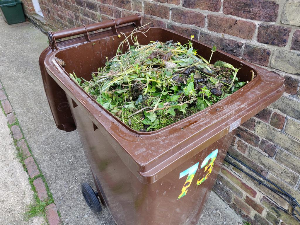 Brown wheelie full of garden waste