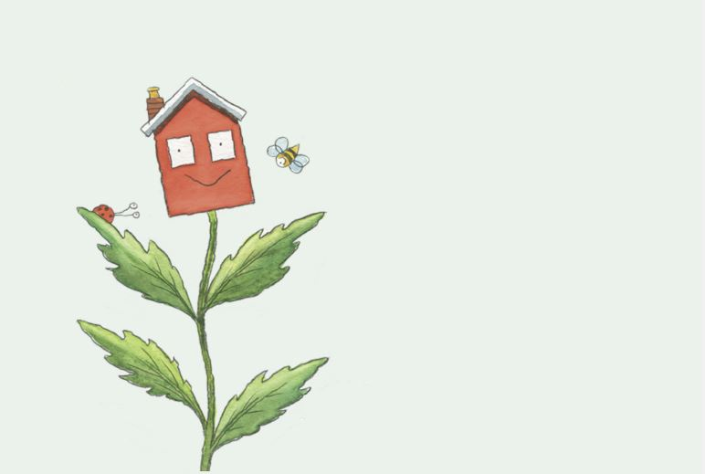 Garden waste stylised plant and house